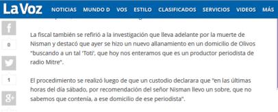 Casa RosadaCuenta verificada  @CasaRosadaAR   El allanamiento de Olivos fue en la casa de un periodista de Mitre. Un custodio de Nisman llevó un sobre el sábado.