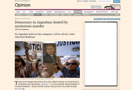 """""""Democracy in Argentina dented by mysterious murder"""", el artículo publicado en el Financial Times."""