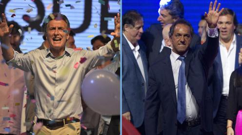 Mauricio Macri -izquierda- y Daniel Scioli -derecha- se volverán a ver las caras este 22 de noviembre, día en el que los argentinos elegirán por primera vez a su presidente en una segunda vuelta.